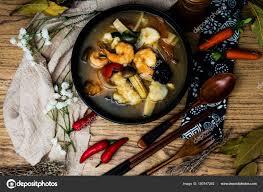 Chinese food mix seafood soup pot ...