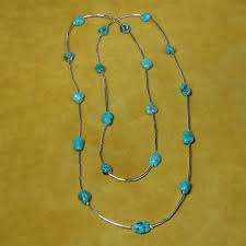 double strand turquoise and red c necklace