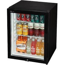 dellware silent triple glazed glass door bar fridge model dw60t open