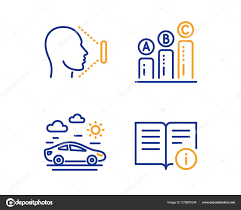 Graph Chart Car Travel And Face Id Icons Set Technical