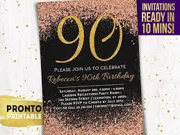 90th Birthday Invitations Printable 90th Birthday Etsy