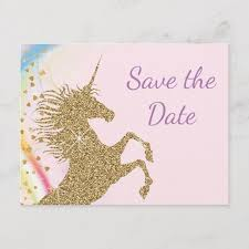 Blank Save The Date Cards Unicorn Birthday Party Save The Date Postcards Zazzle Com