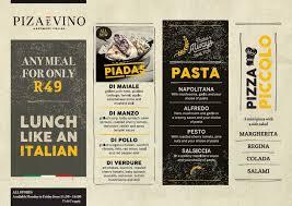 Italian Menu Impressive Lunch Like An Italian Only R 48 Piza ē Vino