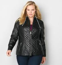 Angled Front Pleather Jacket from Avenue & Black Quilted Hoodie Moto Jacket Adamdwight.com