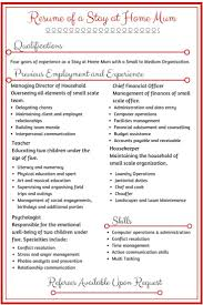 Resume For Homemaker  resume writing for high school students     happytom co Stay At Home Mom Duties Resume   Resume   resume for homemaker
