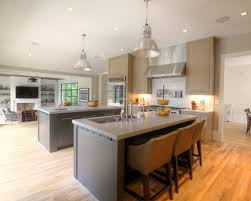 Inspiration for a contemporary open concept kitchen remodel in Atlanta with  gray cabinets, white backsplash