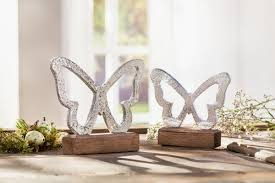 Deko Figur Schmetterling 2er Set Butterfly Fenster Tisch Skulptur