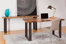 timber office desk. natural edge marri timber desk and console table industrial black steel base thick office s