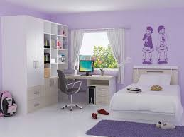 bedroom for girls: adorable wall painting bedroom for girl plus modern computer chair and purple shag rug feat ring top curtain