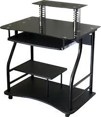 black glass computer desk with monitor stand