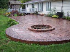 Stamped Concrete Step By Step Curved Bench Concrete Patios