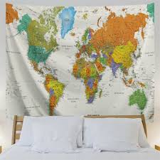 colorful world map 3d printing home wall hanging tapestry for decoration multi a w203cmxl153cm