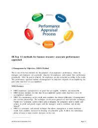 job performance evaluation form page 12 iiitop 12 methods for human resource associate human resource associate job description