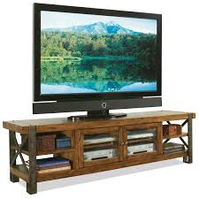 Rana Furniture Living Room Riverside Furniture Sierra Rustic 80 In Tv Console W Glass Doors