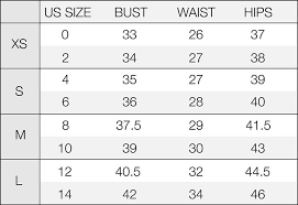 Cogent Lucy Clothing Size Chart 2019