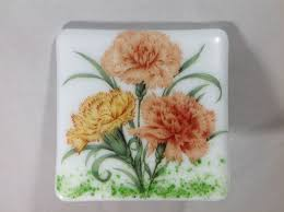 Carnations Fused Glass Plug In Floral Night Light