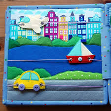 fantastic quiet or busy book page idea with aroplane boat and car