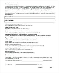 Parent Excursion Consent Form Field Trip Template Sample Parental ...