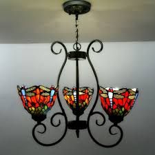 country style tiffany three light red blue stained glass chandelier with dragonfly pattern