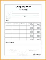Food Bill Template Free Billing Invoice Word Receipt Medical