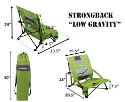 com strongback low gravity beach chair with lumbar support black sports outdoors