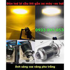 Đèn led H4 gắn xe máy - xe hơi -ánh sáng cos vàng pha trắng