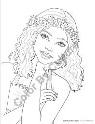 Small Picture Fashion Coloring Page Girl with Flower Wreath Coloring Page