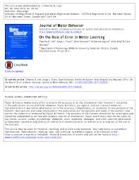 pdf on the role of error in motor learning