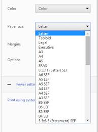 executive paper size javascript google chrome is not showing all paper sizes in the