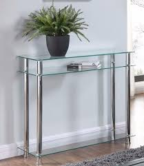 mesmerizing glass console table in clear or black chrome legs 2 tier modern