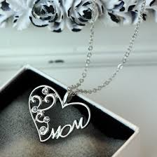 engraved mom silver crystal heart pendant necklace for love mother s day gifts 6630597819675