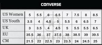 converse youth size chart. size chart converse youth i