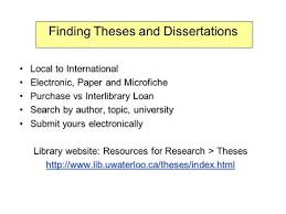 submitting theses to s portal a pilot project theses  finding theses and dissertations local to international electronic paper and microfiche purchase vs interlibrary loan