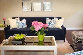 perfect navy blue sofa in transitional beige living room by georgette westerman