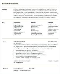 fast food restaurant manager resume hospitality management resume hotel manager resume cv template