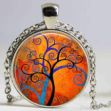 spiral tree art necklace spiral cabochon glass keyring blue and orange tree modern art colorful tree pendant necklace fashion pendant with
