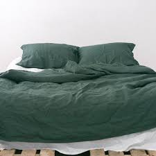 3 piece linen bedding set linen duvet cover and 2 pillowcases dark green us full us queen us king euro size