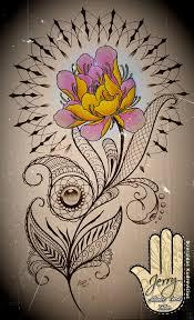 Lotus Flower And Mandala Tattoo Idea With Mendi And Lace Patterns