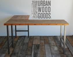 l shaped wood desk. L Shaped Desk Made With Reclaimed Top And Steel Legs Wood