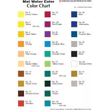 Sakura Poster Color Chart Sakura Set Of Mat Water Colors 5 Ml Tubes