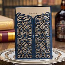 amazon com wishmade 50 count set laser cut invitations cards kits Amazon Laser Cut Wedding Invitation wishmade vintage laser cut wedding invitations cards blue 50 pieces kit for marriage engagement birthday bridal Laser-Cut Wedding Invitation Template