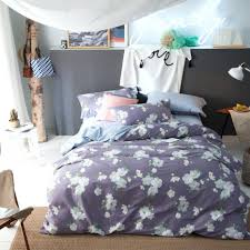 purple flowers print duvet cover set queen king size bedding for color stripe and white
