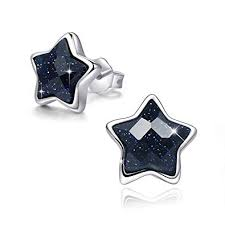 SIMPLOVE <b>S925 Sterling Silver</b> Black Star Stud Earrings, 14K ...