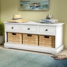 Beachcrest Home Santa Cruz <b>Solid</b> Wood Drawer <b>Storage Bench</b> ...