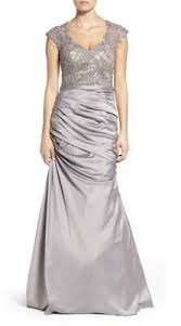 La Femme Embellished Lace Satin Mermaid Gown Dress Size 8 Silver Ebay