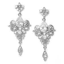 le chic silver clear crystal vintage chandelier earrings