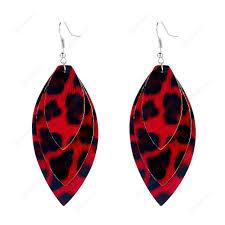 leopard pu leather earrings three layer retro eardrop women jewelry red