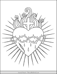 A heart to color and to celebrate love ! Sacred Heart Coloring Page Thecatholickid Com