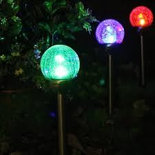 whole set of 2 color changing solar le glass ball stake light garden lamp