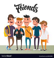 cartoon guys five best friends student vector image